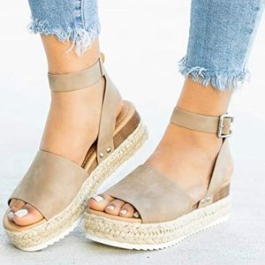 Open Toe Espadrille Wedge Flatform Sandal- Shoe